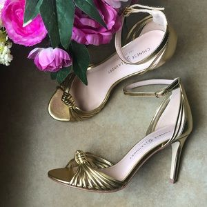 Chinese Laundry Womens Strappy Gold Heels